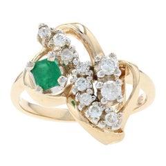 Yellow Gold Diamond & Emerald Leaf Ring, 14k Round Brilliant Cut .52ctw