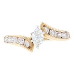 Yellow Gold Diamond Engagement Bypass Ring, 14k Marquise Brilliant .70ctw