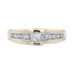 Yellow Gold Diamond Engagement Ring, 14k Princess Cut 1.00ctw