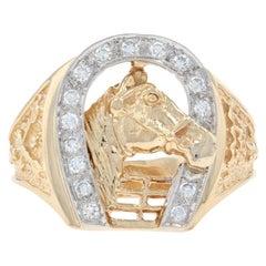 Yellow Gold Diamond Equestrian Ring, 14k Single Cut .30 Carat Horseshoe Men's