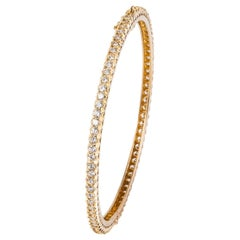 Yellow Gold Diamond Eternity Bangle Bracelet