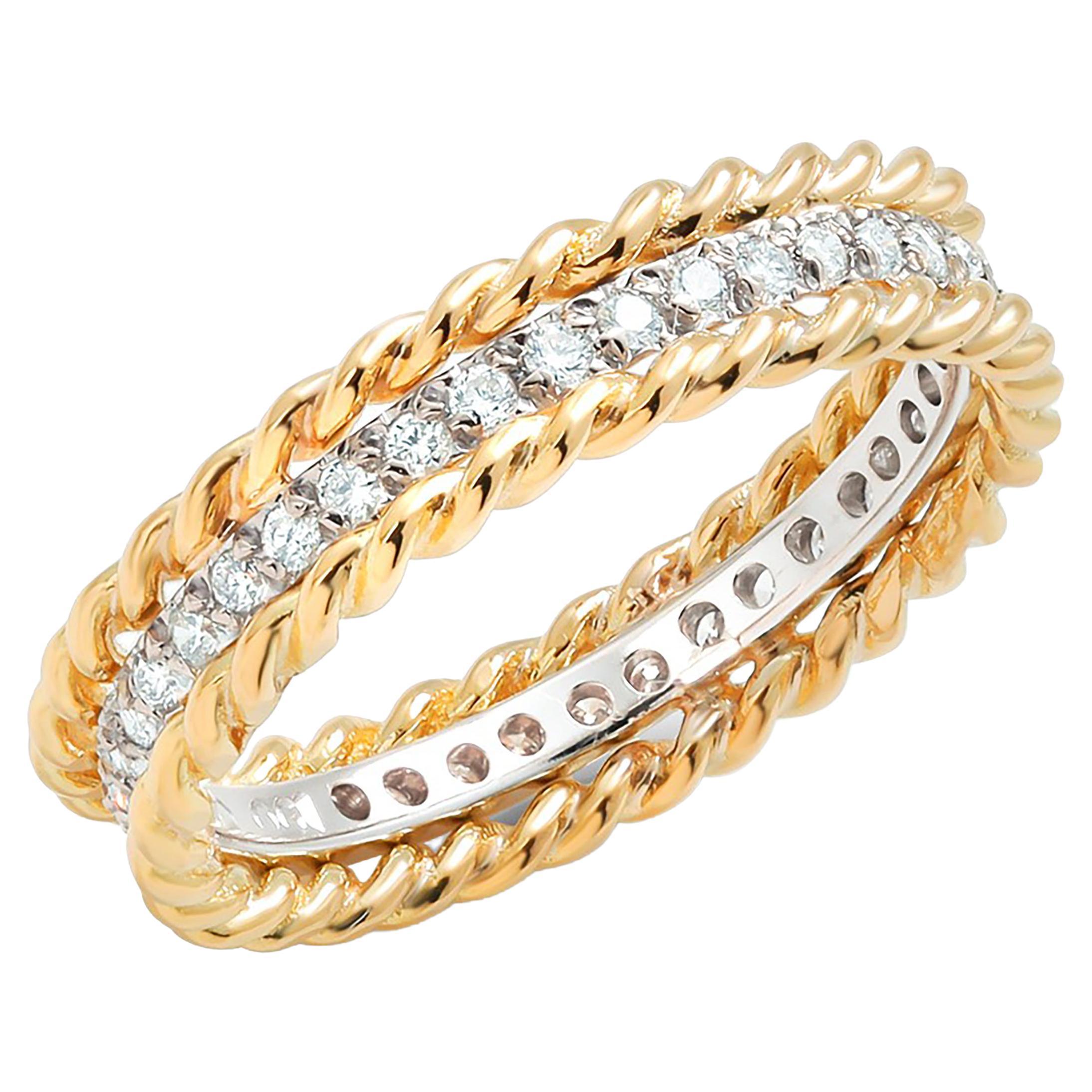 Yellow Gold Diamond Eternity Five Millimeter Eighteen Karats Rope Designed Band