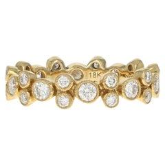 Yellow Gold Diamond Eternity Ring, 18 Karat Round Cut 1.04 Carat Wedding Band
