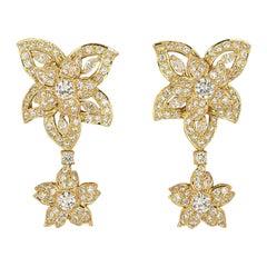 Yellow Gold Diamond Flower Drop Earrings 5.56 Carat
