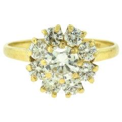 Yellow Gold Diamond Flower Engagement Ring