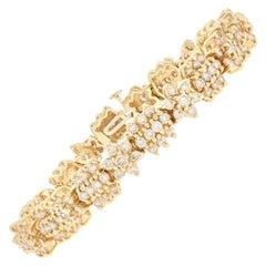 Yellow Gold Diamond Flower Link Bracelet 14 Karat Round Brilliant Cut 6.00 Carat