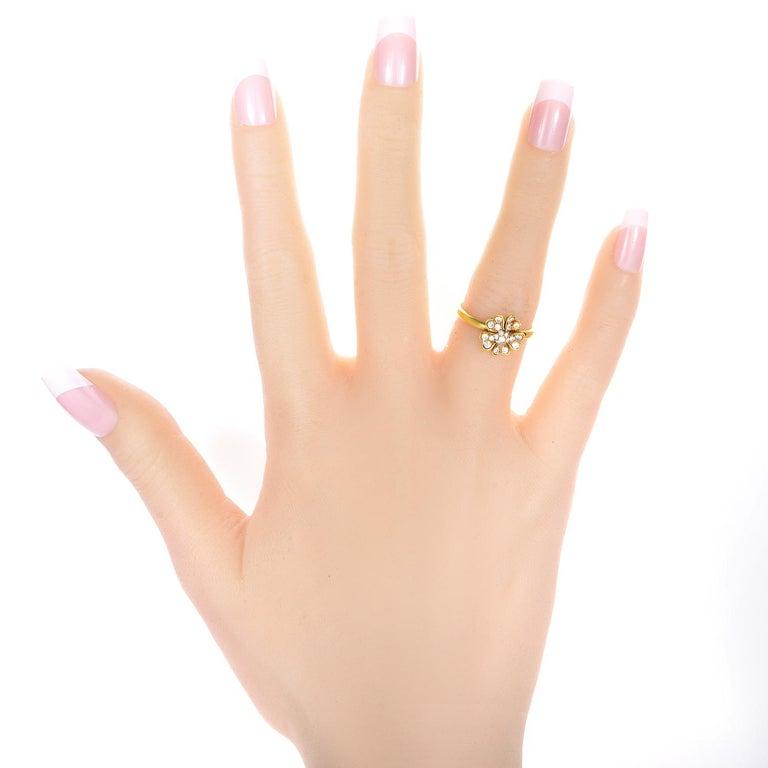 Women's Yellow Gold Diamond Flower Ring For Sale