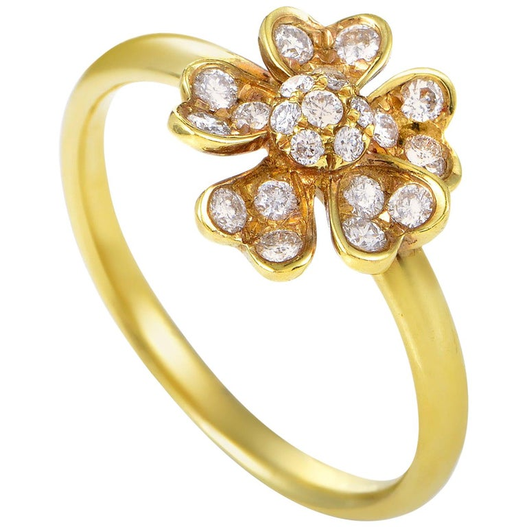 Yellow Gold Diamond Flower Ring For Sale