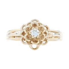 Yellow Gold Diamond Flower Solitaire Ring, 14k Round Brilliant Cut Blossom