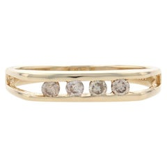 Yellow Gold Diamond Four-Stone Band, 14k Round Brilliant .16ctw Stackable Ring