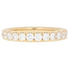Yellow Gold Diamond French Set Wedding Band, 14k Round Brilliant .86 Carat Ring