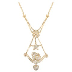Yellow Gold Diamond Heart, Flower and Star Necklace