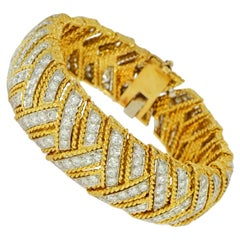 Yellow Gold Diamond Herringbone Design Bracelet