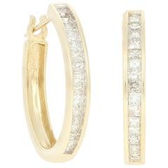 Yellow Gold Diamond Hoop Earrings, 14 Karat Princess Cut 1.50 Carat Pierced