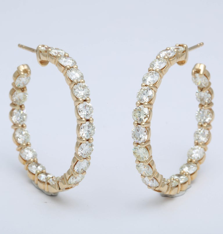 Yellow Gold Diamond Hoops In New Condition For Sale In New York, NY
