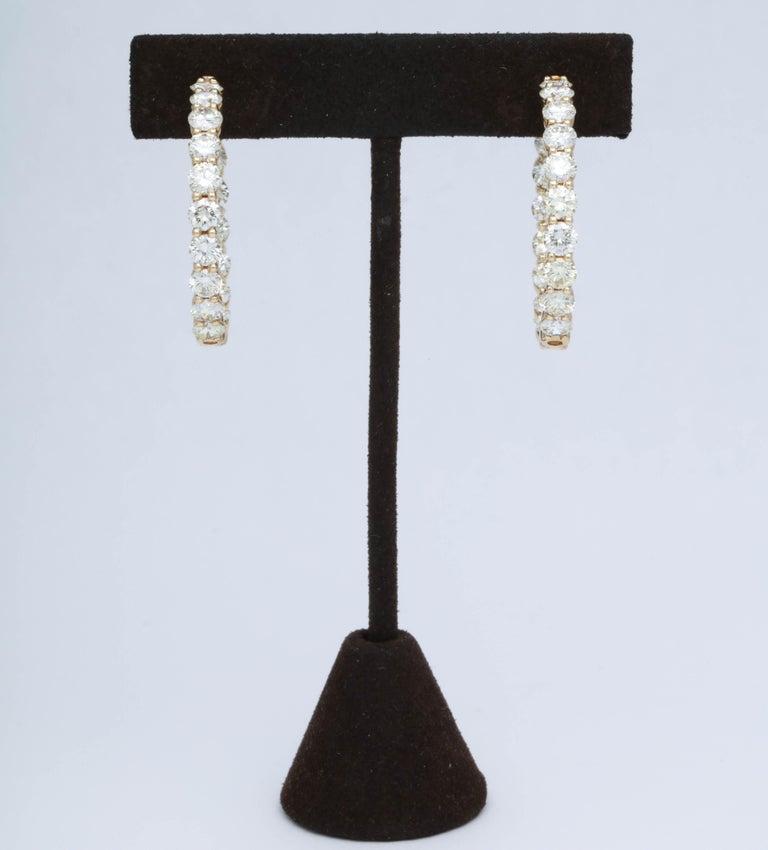 Women's Yellow Gold Diamond Hoops For Sale
