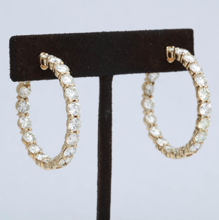 Yellow Gold Diamond Hoops For Sale 2