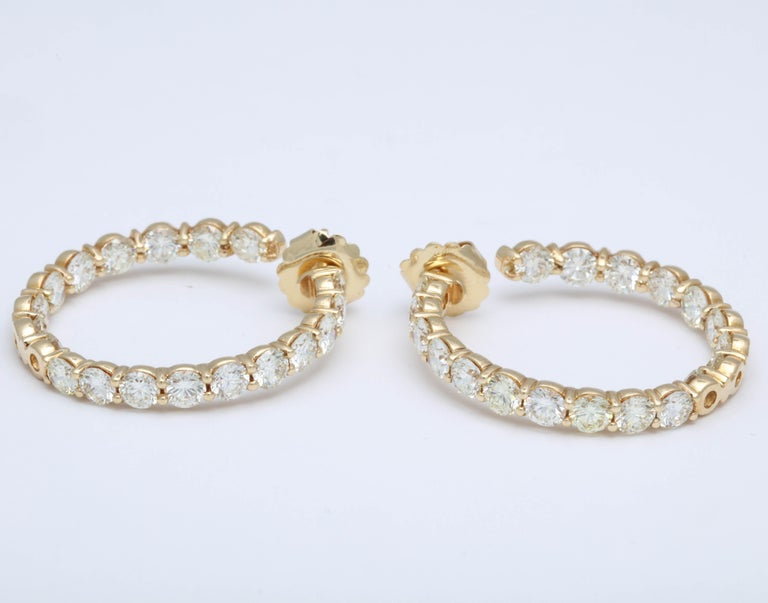 Yellow Gold Diamond Hoops For Sale 3