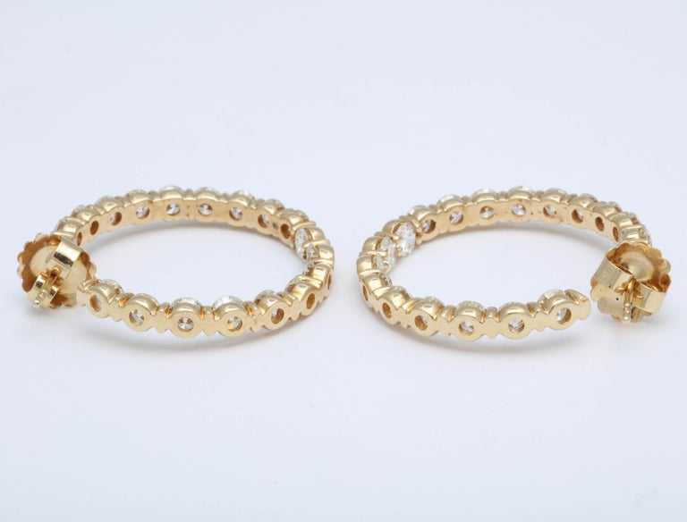 Yellow Gold Diamond Hoops For Sale 4