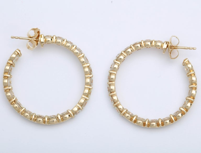 Yellow Gold Diamond Hoops For Sale 5