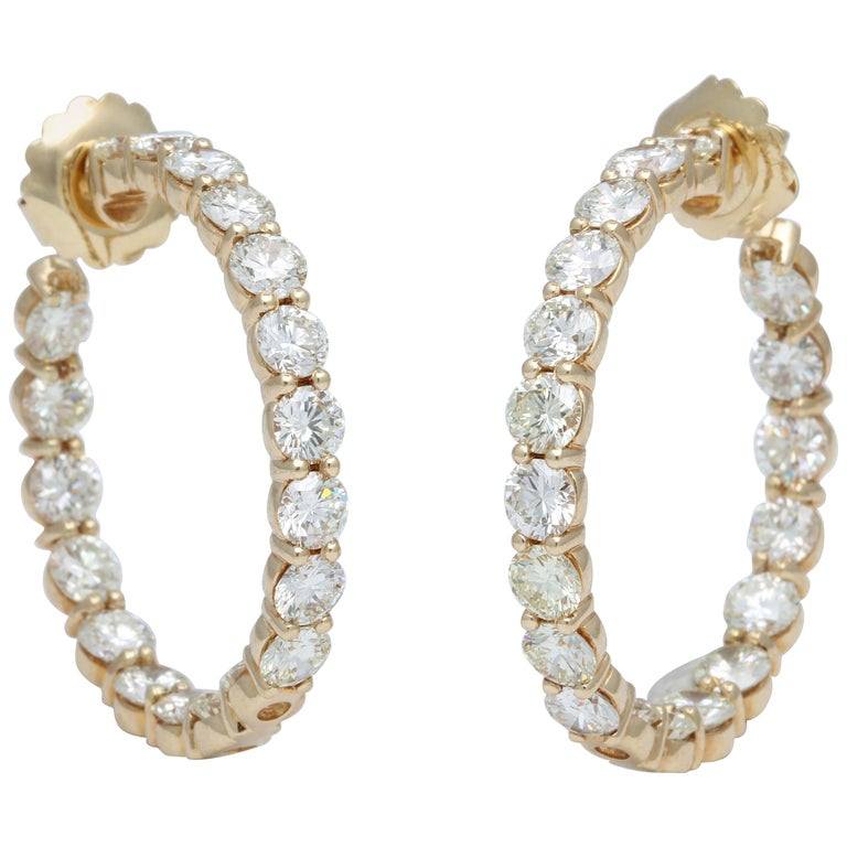 Yellow Gold Diamond Hoops For Sale