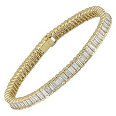 Yellow Gold Diamond Line Tennis Bracelet 11.52 Carat