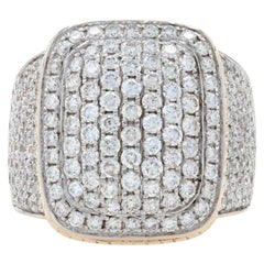 Yellow Gold Diamond Men's Ring, 10k Round Brilliant 3.64ctw Cluster Halo
