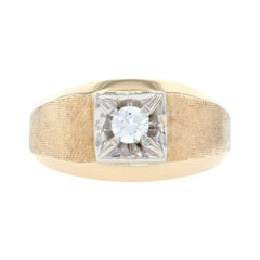 Yellow Gold Diamond Men's Ring, 14k Round Brilliant Cut .25ct