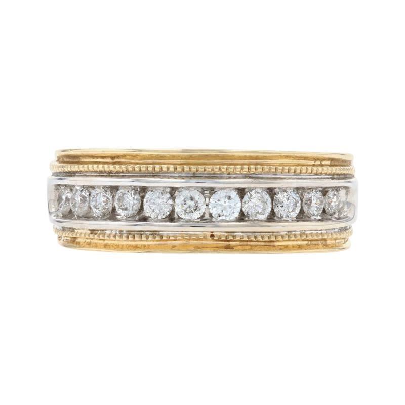 Yellow Gold Diamond Men's Wedding Band 14k Round Brilliant .50ctw Milgrain Ring