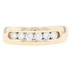 Yellow Gold Diamond Men's Wedding Band, 14k Round Cut .48 Carat Channel Set Ring