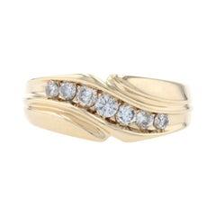 Yellow Gold Diamond Men's Wedding Band, 14k Round Cut .50ctw Bypass Ring