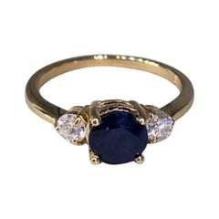 Yellow Gold Diamond Natural Blue Sapphire Ring for Her
