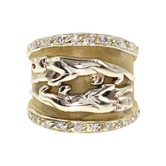 Yellow Gold Diamond Panther Wide Ring