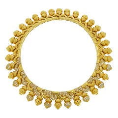 Yellow Gold Diamond Pave Necklace