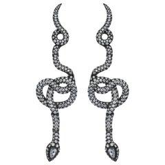 Yellow Gold Diamond Pear Shape Rose Cut Diamond Snake Cocktail Earrings