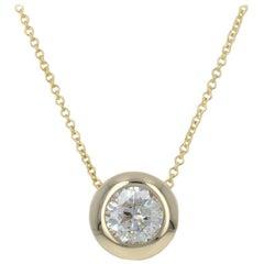 Yellow Gold Diamond Pendant Necklace, 14 Karat Round Brilliant Cut 1.00 Carat