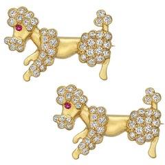 Yellow Gold Diamond Poodle Pins