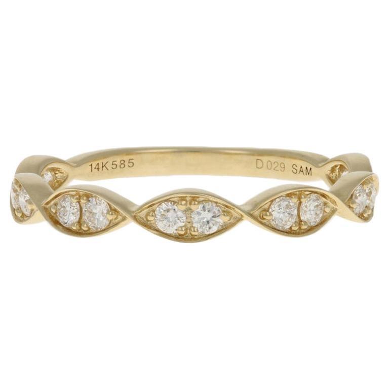 Yellow Gold Diamond Ring, 14 Karat Round Brilliant Cut .29 Carat Wedding Band