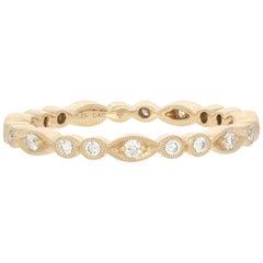 Yellow Gold Diamond Ring, 14k Round Brilliant .24 Carat Eternity Wedding Band