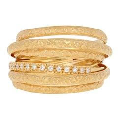Yellow Gold Diamond Ring, 18 Karat Round Brilliant Cut .15 Carat Women's