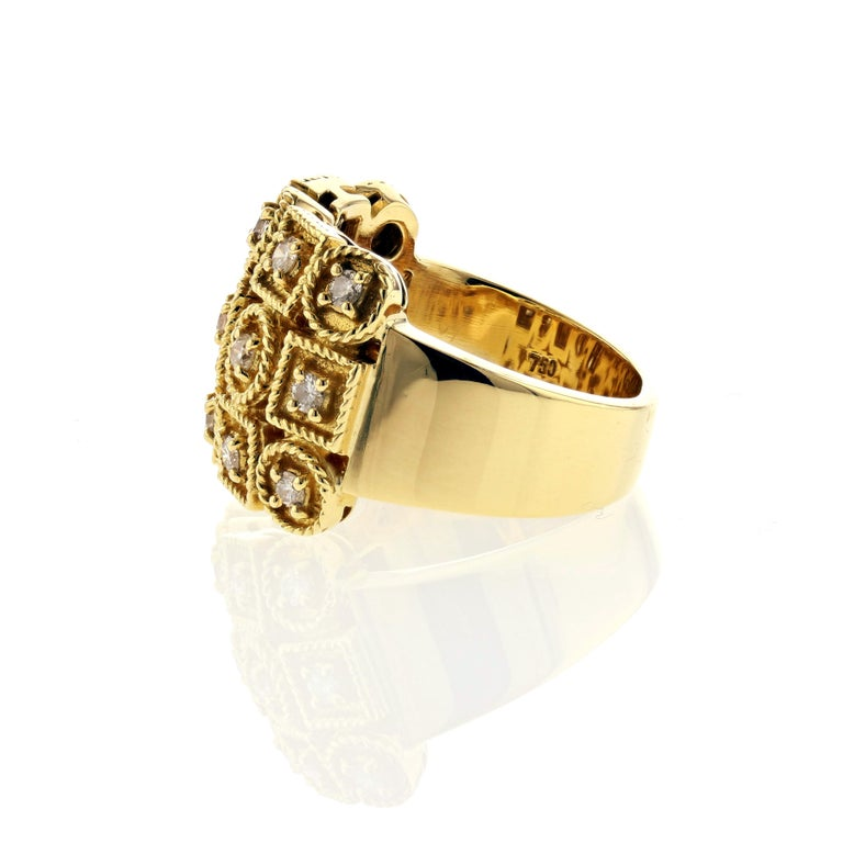 Round Cut Yellow Gold Diamond Ring with Circles and Squares For Sale