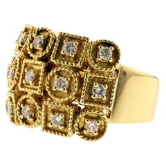 Yellow Gold Diamond Ring with Circles and Squares