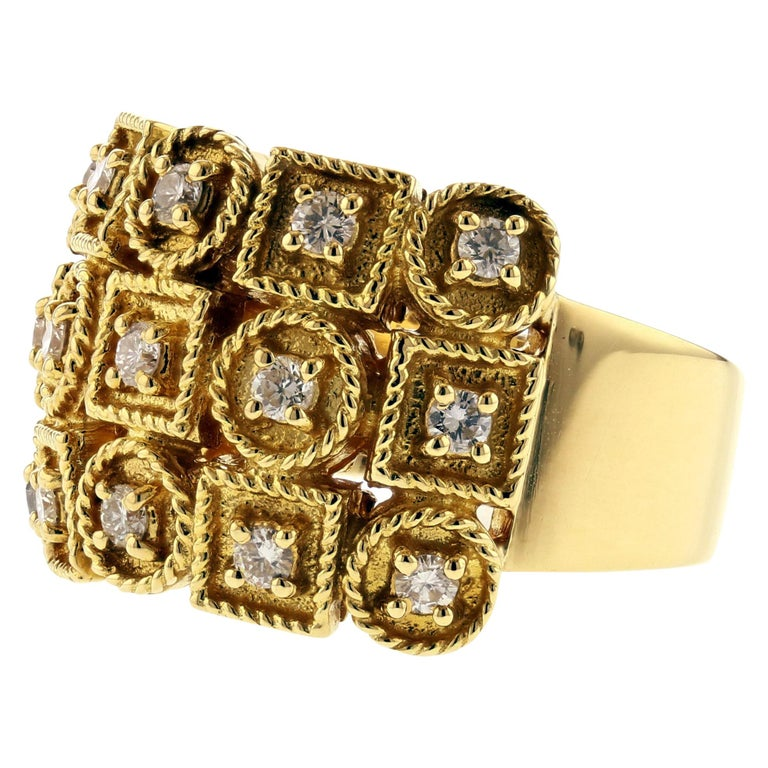 Yellow Gold Diamond Ring with Circles and Squares For Sale