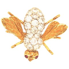 Yellow Gold Diamond Rosenthal Bee Pin
