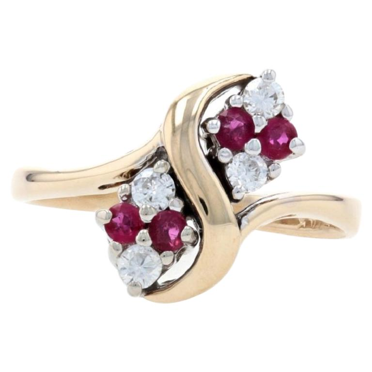 Yellow Gold Diamond & Ruby Bypass Ring, 14k Round Brilliant Cut .40ctw