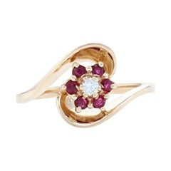 Yellow Gold Diamond & Ruby Flower Halo Bypass Ring, 14k Round Brilliant .29ctw