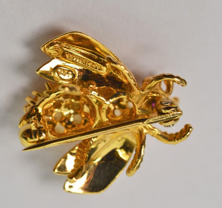 Women's Yellow Gold, Diamond Ruby Tiffany & Co. Bumble Bee Pin Brooch For Sale