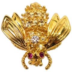Yellow Gold, Diamond Ruby Tiffany & Co. Bee Pin Brooch