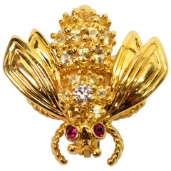Yellow Gold, Diamond Ruby Tiffany & Co. Bumble Bee Pin Brooch