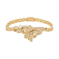 Yellow Gold Diamond Set Bow Bracelet 2.96 Carat